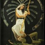 Santa Marta e il drago, cm 150x210, painting, collage, ink jet on ultra smooth fine art