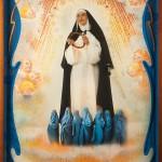 Santa Rita e le martiri, cm 150x210, painting, collage, ink jet on ultra smooth fine art