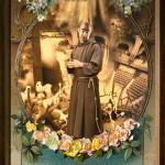 La visita di San Francesco, cm 110x160, painting, collage, ink jet on ultra smooth fine art