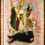 L'incontro di Sant'Ambrogio e Santa Rosalia, cm 150x210, painting, collage, ink jet on ultra smooth fine art