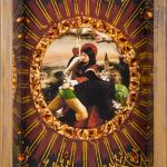 Santa Giustina, painting, print and collage on wood, cm.30x40, 2012