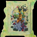Santa Rosalia, painting, print and collage on wood, cm.30x40, 2012