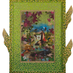 Santa Cristina, painting, print and collage on wood, cm.30x40, 2012