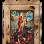 Santa Giulia, painting, print and collage on wood, cm.30x40, 2012