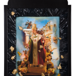 San Gennaro, painting, print and collage on wood, cm.30x40, 2012